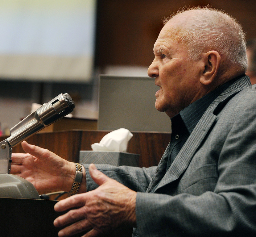 """. Elmer Kellan, a witness testifying at the murder trial of Christian Gerhartsreiter, 52,  known as \""""Clark\"""" Rockefeller, second day at trial at Clara Shortridge Fortz Criminal Justice Center in Los Angeles on Wednesday, March 20, 2013.  Gerhartsreiter is a German immigrant who masqueraded as a member of the Rockefeller family. He is charged with murder of John Sohus, 27, whose bones were unearthed from the backyard of the home in San Marino, California, in 1985.  Sohus\' wife, Linda, has never been found. (SGVN/Photo by Walt Mancini/LANG)"""
