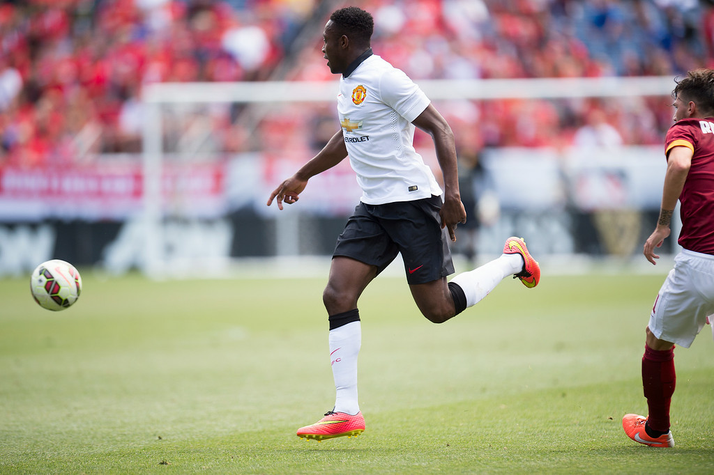 . Danny Welbeck #19 of Manchester United goes after the ball against AS Roma during the first half of an exhibition match of the Guinness International Champions Cup at Sports Authority Field at Mile High on July 26, 2014, in Denver, Colorado. Manchester United won 3-2. (Photo by Daniel Petty/The Denver Post)