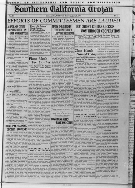 Southern California Trojan: School of Citizenship and Public Administration, Vol. 4, No. 1, June 09, 1931