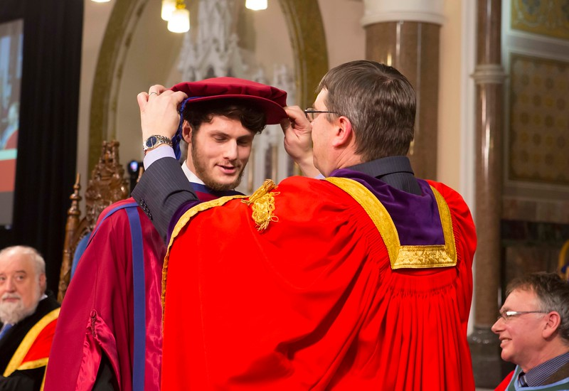 Waterford Institute Of Technology Conferring. Pictured at WIT Waterford Institute Of Technology Conferring is Julien Mineraud, France, who was conferred a Doctor of Philosophy by Dr. Ruaidhrí Neavyn, President WIT. Picture: Patrick Browne