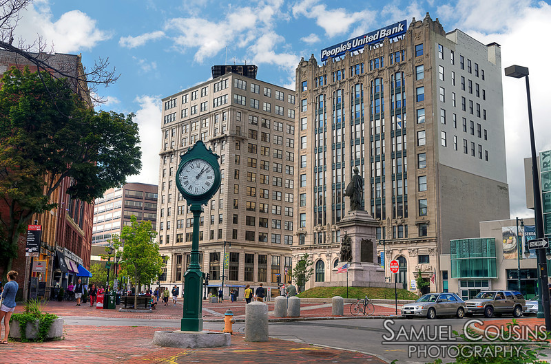 The newly replaced clock by Monument Square.
