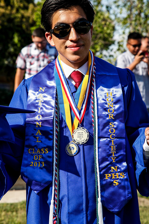. Honor society graduate Oscar Lemus is one of several who are a Silver Seal Senior with a 3.0 - 3.59 grade point average at, John H Francis Polytechnic High School, Sun Valley, Calif., June 7, 2013. Photo: Lynn Levitt.