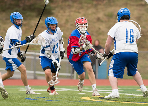 04/18/19 Wesley Bunnell | Staff Berlin boys lacrosse defeated Bristol Eastern at on Thursday afternoon at Bristol Eastern High School. Berlin's Brian Formica (26) with a goal.