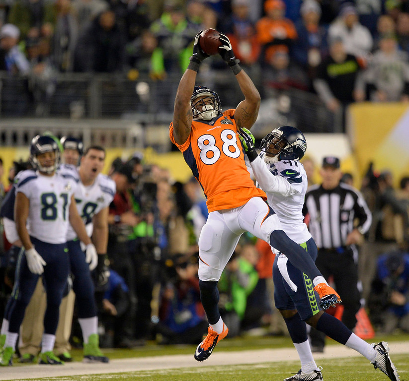 . Denver Broncos wide receiver Demaryius Thomas (88) makes a catch during the second quarter. The Denver Broncos vs the Seattle Seahawks in Super Bowl XLVIII at MetLife Stadium in East Rutherford, New Jersey Sunday, February 2, 2014. (Photo by John Leyba/The Denver Post)