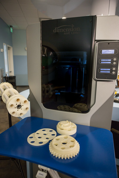 Full Sail University FabLab and components printed with the Stratasys dimension sst 1200es 3D printer.