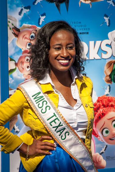 WESTWOOD, CA - SEPTEMBER 17: Shelby Jenkins, Miss Texas 2016 attends the premiere of Warner Bros. Pictures' 'Storks' at Regency Village Theatre on Saturday September 17, 2016 in Westwood, California. (Photo by Tom Sorensen/Moovieboy Pictures)