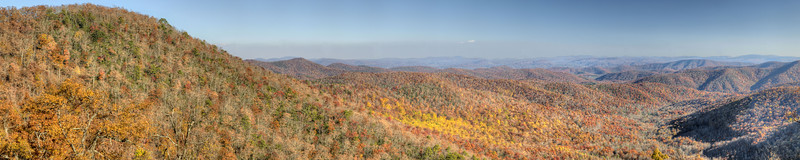 Panorama view of the fall colors near Milepost 409 on the Blue Ridge Parkway in North Carolina on Sunday, November 3, 2013. Copyright 2013 Jason Barnette