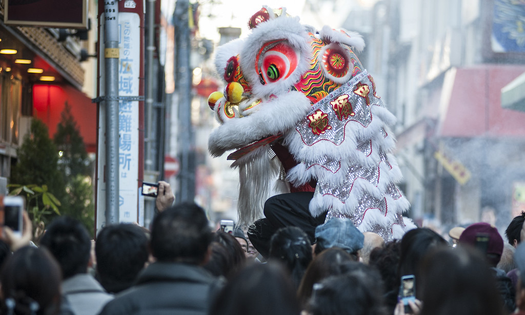 . A lion dance is performed in front of the Chinese restaurant in the Yokohama China Town on January 31, 2014 in Yokohama, Japan.   (Photo by Keith Tsuji/Getty Images)