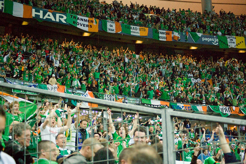 Irish fans cheer in the Stade de France, Paris, France