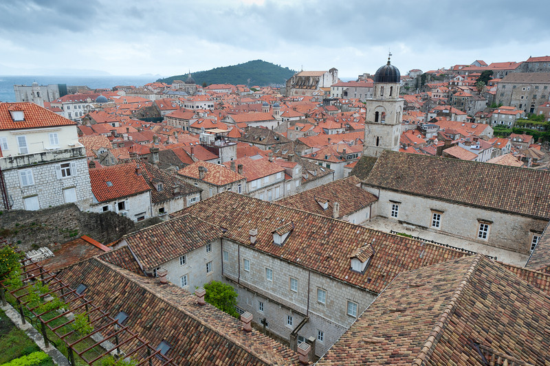 Rooftops and the dome of the Assumption Cathedral of Dubrovnik - Dubrovnik, Croatia