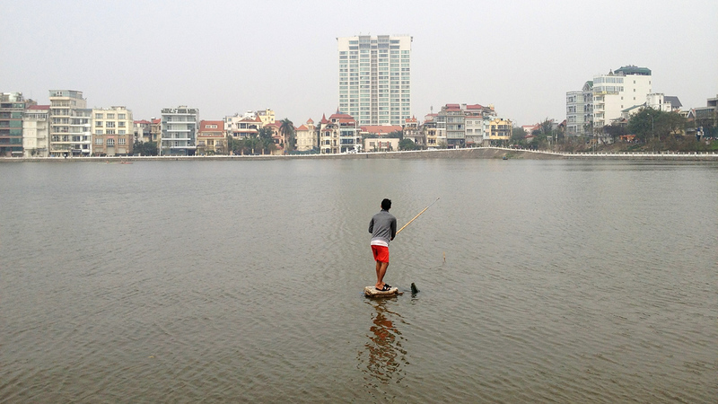 Fishing, West Lake, Hanoi