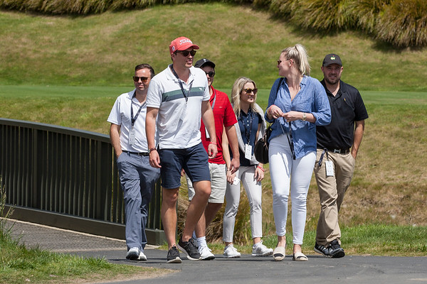 Fans moving from the 1st tee onto the course on the 3rd day of competition  in the Asia-Pacific Amateur Championship tournament 2017 held at Royal Wellington Golf Club, in Heretaunga, Upper Hutt, New Zealand from 26 - 29 October 2017. Copyright John Mathews 2017.   www.megasportmedia.co.nz