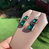 Georgian Double Drop Emerald Paste Earrings 16