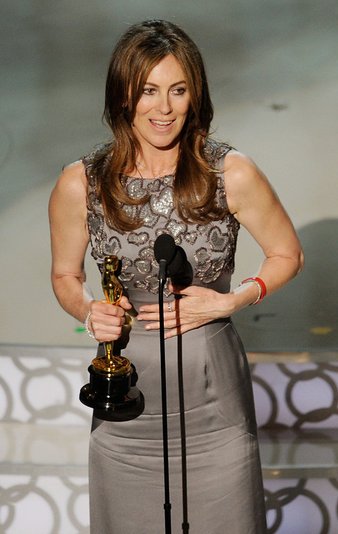 ". Director Kathryn Bigelow accepts Best Director award for ""The Hurt Locker\"" onstage during the 82nd Annual Academy Awards held at Kodak Theatre on March 7, 2010 in Hollywood, California.  (Photo by Kevin Winter/Getty Images)"