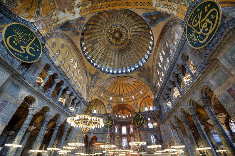 Interior ceiling inside Hagia Sophia in Istanbul, Turkey