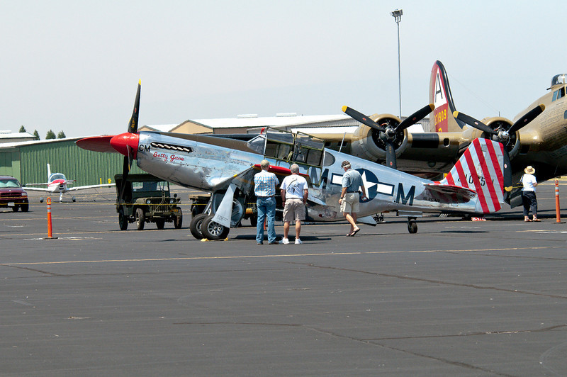 WWII vintage B-17 and P-51 at the Collings Foundation display, Lincoln, CA.