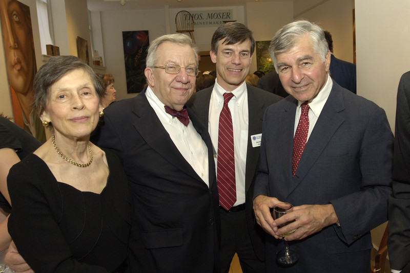 Councilor Frances Burnham, incoming NEHGS chairman David Burnham, and NEHGS chairman Eric Schultz with Michael Dukakis.