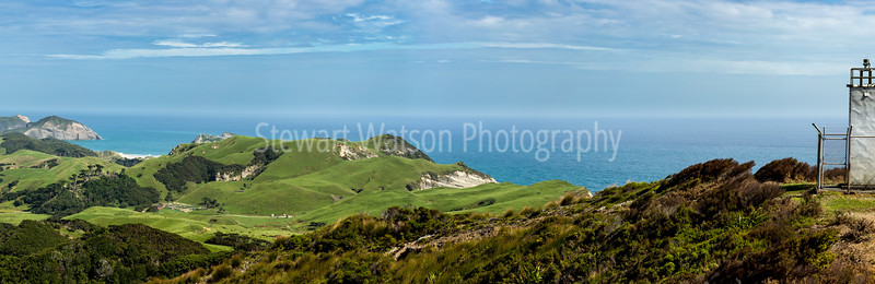 From the end of Wharariki beach on the left to the lighthouse at Cape Farewell (Pillar Point) on the right