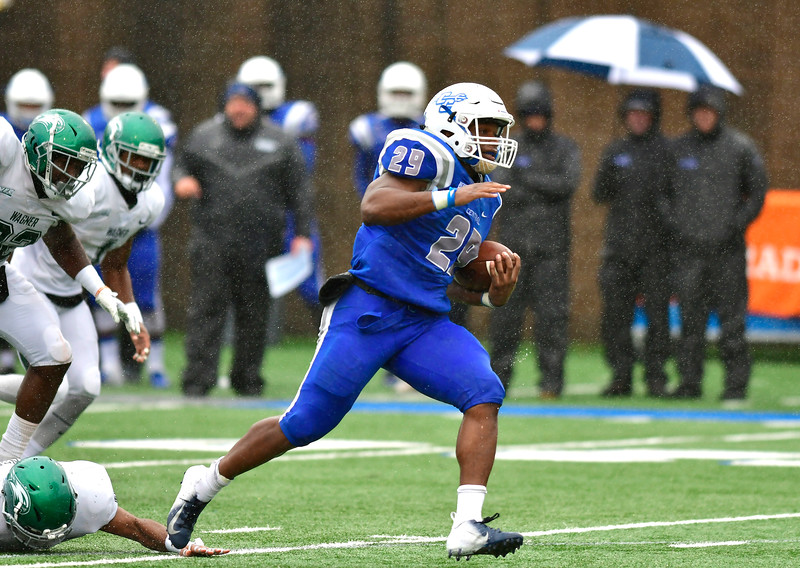 10/27/2018 Mike Orazzi | Staff CCSU's Aaron Dawson (29) with a  TD run during Saturday's football game in New Britain with Wagner.