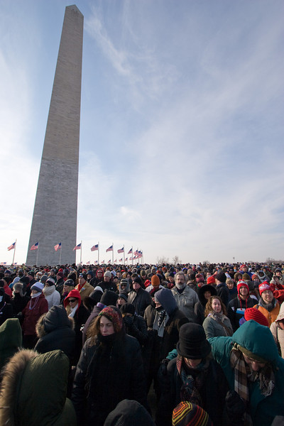 We were standing on the ground of the Washington Monument, beyond the row of 50 flags but inside the oval walkway. -- Presidential Inauguration for Barack Obama, Jan 20, 2009. It was about 25 degrees out with a crowd estimated at 1.5-1.8 million people.