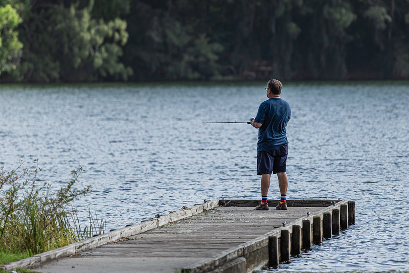 A man fishes off the small pier near the kayak rental booth at Okeeheelee Park, Tuesday, August 25, 2020. [JOSEPH FORZANO/palmbeachpost.com]