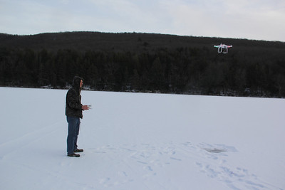 Quad Copter Flight Over Frozen Tuscarora Lake, State Park, Tuscarora (1-30-2014)