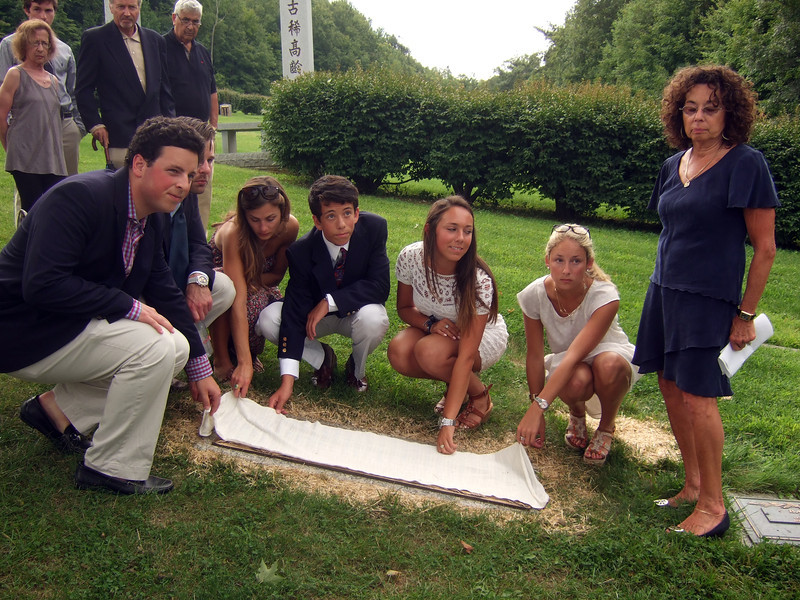 Elliot Walsey gravestone unveiling - FRONT: Brian Hyman, left front; Jeremy Solomon, 2nd on left front; Alexandra Solomon, 3rd on left front; Jackie Hyman, 4th on right; Gabriela Lynne Hyman, 3rd on right; Lindsay Sarah Hyman, 2nd on right; Joan (née Somerstein) Walsey, right REAR: Sam Berry, left rear; Barbara Valle, left rear; Ric Berry, center rear; Irwin Solomon, right rear- Husband Elliot Walsey's gravestone unveiling