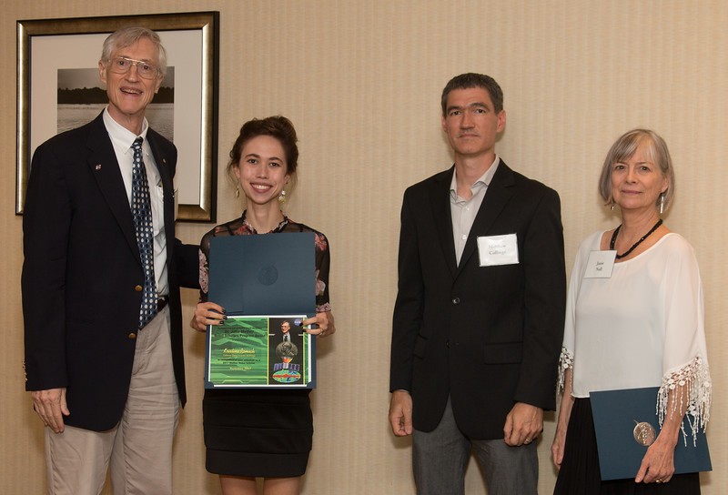 """Awardee Kristine Romich with John Mather, Matthew Collinge (Maryland Space Grant Consortium), and Janie Nall (GSFC) -- An award luncheon, """"Dr. John Mather Nobel Scholars Program Award"""", as part of the National Council of Space Grant Directors and the Maryland Space Grant Consortium, Greenbelt, MD July 28, 2017"""