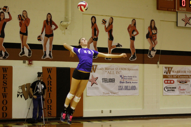 Pflugerville's Madison Rigdon serves against Westwood on Tuesday at Westwood High School.