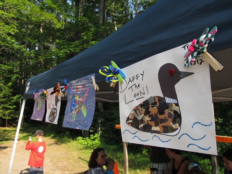 Beautiful northwoods crafts: rainbow fish, shiny loons and magnetic dragonflies.