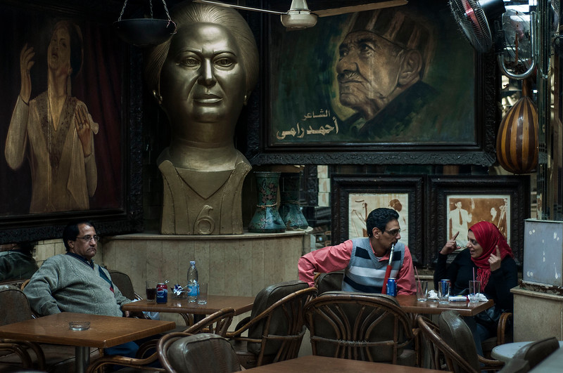 One of the many popular Ahwas (cafes) in central Cairo.  Egypt, 2010.