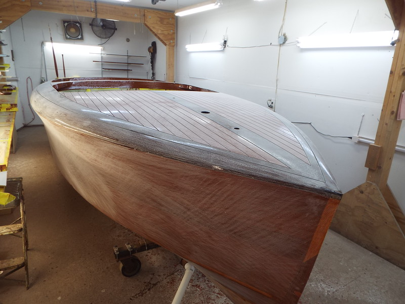 Deck and starboard side sanded.