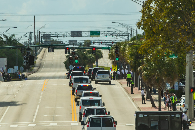 President Donald J. Trump's motorcade travels west on Southern Blvd. to head back to Palm Beach International Airport on Sunday, March 31, 2019. [JOSEPH FORZANO/palmbeachpost.com]