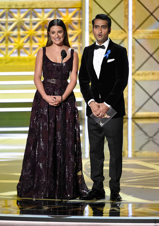 . Lea Michele, left, and Kumail Nanjiani present the award for outstanding reality-competition program at the 69th Primetime Emmy Awards on Sunday, Sept. 17, 2017, at the Microsoft Theater in Los Angeles. (Photo by Chris Pizzello/Invision/AP)