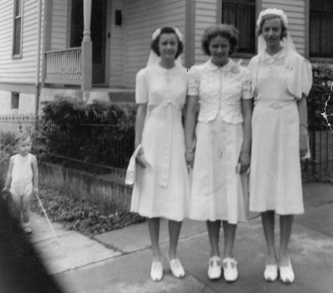 1938 Grade School Graduation Clarita, Alice, Ruth. Age 13