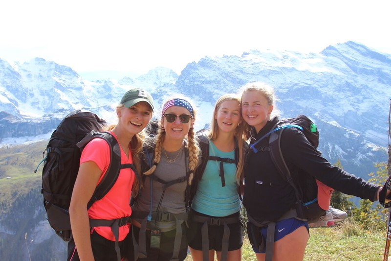Morgan, Grace, Sophie, and Mary just outside of Mürren
