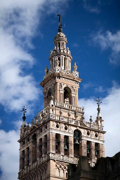 Top of the Giralda tower, Renaissance work by Hernan Ruiz over the Moorish minaret, Seville, Spain