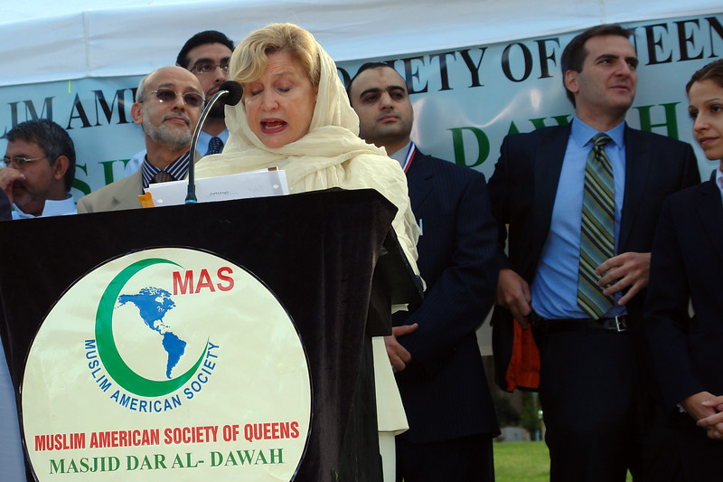 Congresswoman Carolyn Malloney speaking at the Eid ul Fitr ceremonie, organized by the Muslims American Society in Astoria Park.