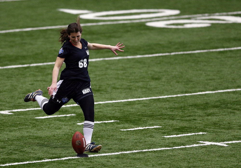 . FLORHAM PARK, NJ - MARCH 03:  Lauren Silberman attempts a kick off during the NFL Regional Scouting Combine on March 3, 2013 at the Atlantic Health Training Center in Floram Park, New Jersey. Silberman is the first female to try out for the NFL.  (Photo by Elsa/Getty Images)