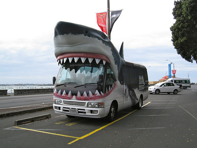 We were informed that the shuttle for Kelly Tarlton would be hard to miss when we first inquired about the shuttle ride.  Then we saw why. LOL.  LOL.