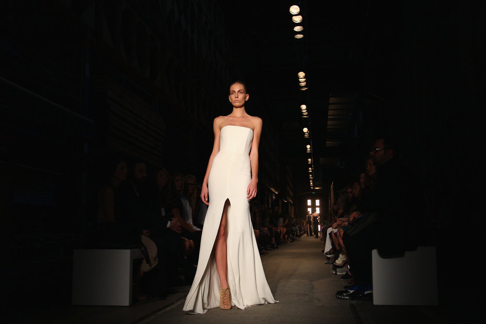 . A model showcases designs on the runway at the Alex Perry show during Mercedes-Benz Fashion Week Australia Spring/Summer 2013/14 at Carriageworks on April 8, 2013 in Sydney, Australia.  (Photo by Lisa Maree Williams/Getty Images)