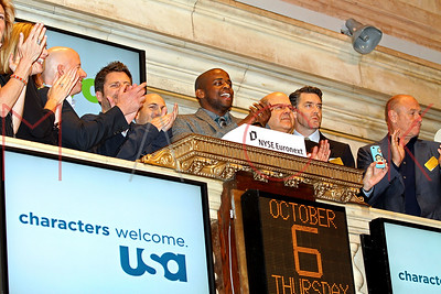 """NEW YORK, NY - OCTOBER 06:  The cast of """"Psych"""" visits the New York Stock Exchange on October 6, 2011 in New York City."""