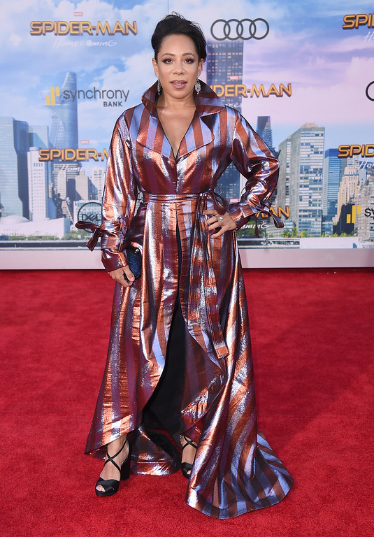 """. Selenis Leyva arrives at the Los Angeles premiere of \""""Spider-Man: Homecoming\"""" at the TCL Chinese Theatre on Wednesday, June 28, 2017. (Photo by Jordan Strauss/Invision/AP)"""