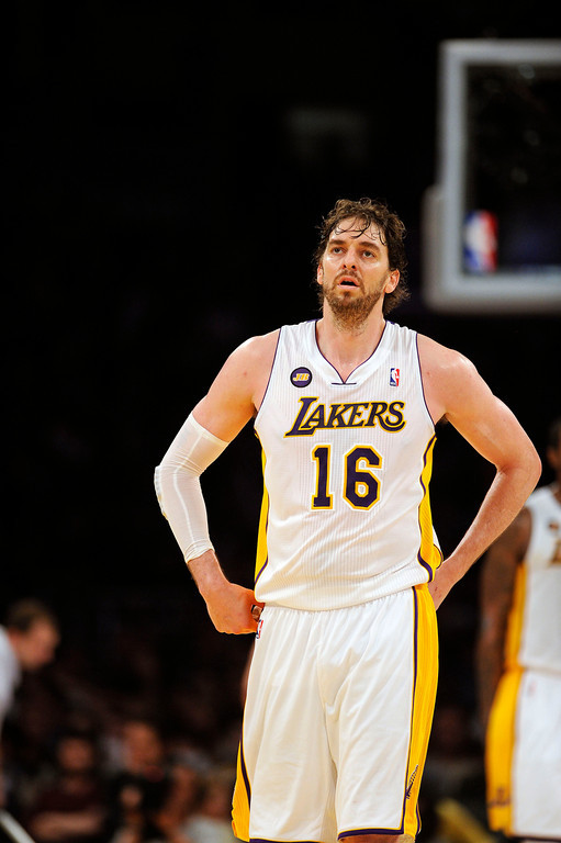 . The Lakers\'  Pau Gasol #16 during game four of their NBA Western Conference playoffs against the Spurs at the Staples Center Saturday, April 28, 2013. The Spurs beat the Lakers 120-89. (Hans Gutknecht/Staff Photographer)