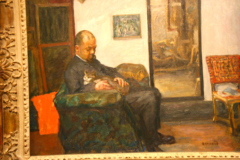 Impressionist art is a great passion of mine.  I couldn't resist taking a photo of this one (note the cat on his lap for the reason why!)