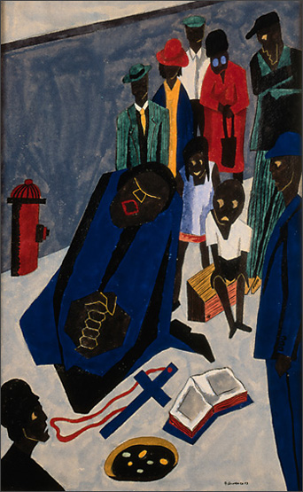 """Jacob Lawrence, """"In the Evening Evangelists Preach and Sing on Street Corners"""" (1943)"""