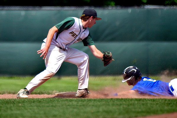 6/4/2019 Mike Orazzi | Staff St. Paul's Sean Crean (6) steals second as Coventry's Jordan Jeroszko (9) reaches to make the tag during the Class S Semifinal at Sage Park in Berlin Tuesday.