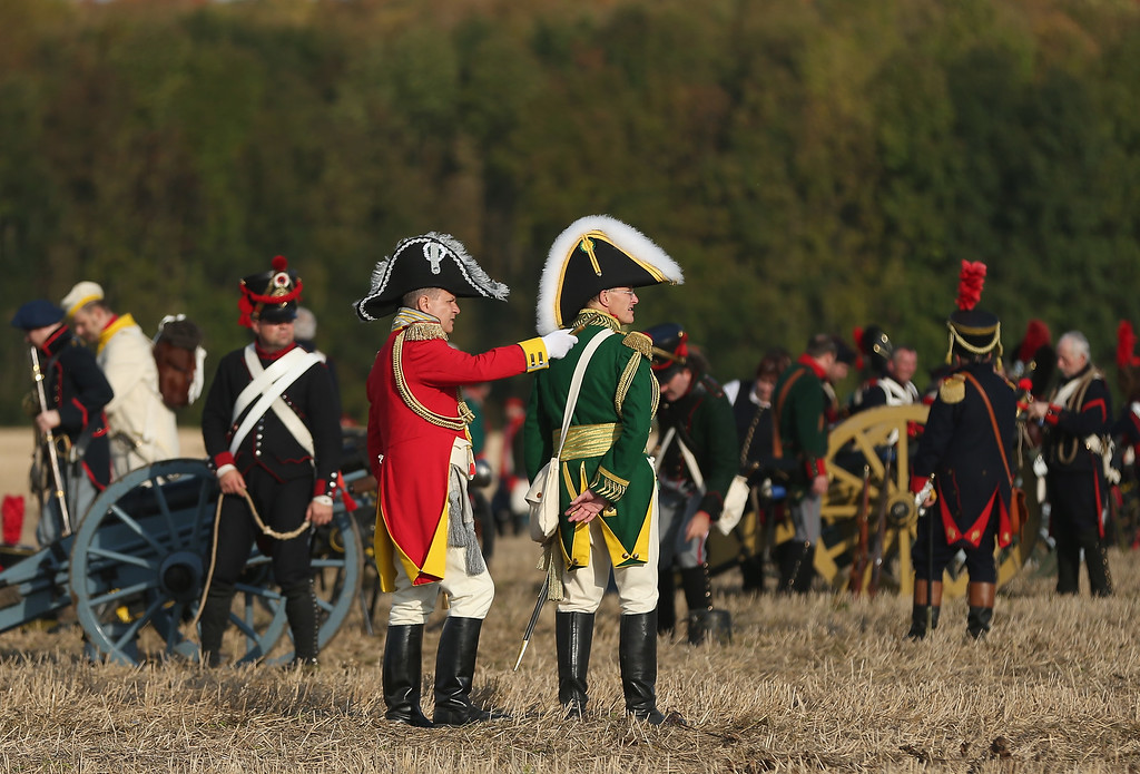 . Historical society enthusiasts in the role of Saxon and French artillery soldiers fighting under Napoleon take arrive to re-enact The Battle of Nations on its 200th anniversary on October 20, 2013 near Leipzig, Germany. (Photo by Sean Gallup/Getty Images)