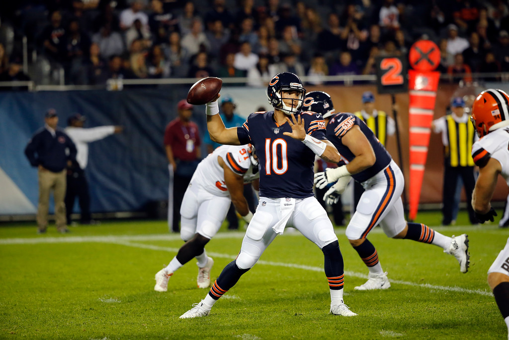 . Chicago Bears quarterback Mitchell Trubisky (10) throws during the first half of an NFL football game against the Cleveland Browns, Thursday, Aug. 31, 2017, in Chicago. (AP Photo/Charles Rex Arbogast)