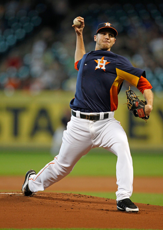 . Houston Astros starter Paul Clemens delivers a pitch in the first inning of a baseball game against the Los Angeles Angels Sunday, Sept. 15, 2013, at Minute Maid Park in Houston. (AP Photo/Eric Christian Smith)